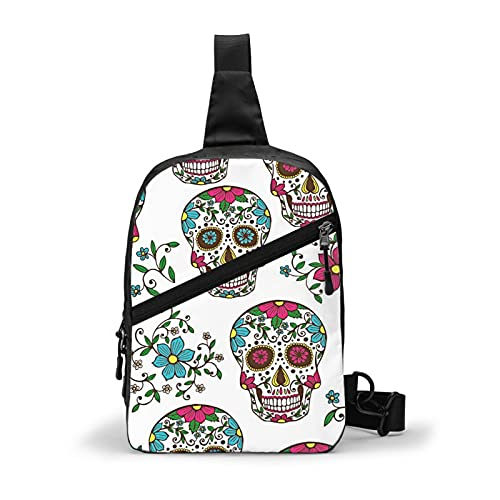 Sugar Skull With Floral_Print -Anti-Theft Sling Chest Bag Small Handbag Multipurpose Crossbody Chest Shoulder Outdoor Travel Hiking Daypack