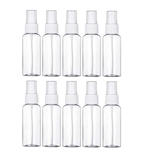 MeGaLuv10 botellas vacías de plástico atomizables de 100 ml para perfumes, limpieza de peinado, alcohol, plantas de viaje y cuidado de la piel, ,  20 ml,  Boquilla blanca,, ]