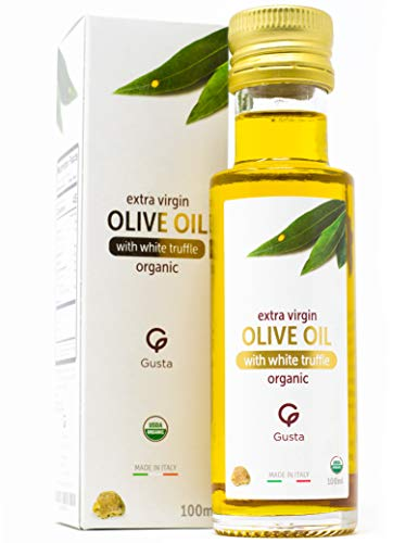 Gusta USDA Organic White Truffle Oil Made in Italy - All Natural - Cold Pressed Extra Virgin Olive Oil - Gourmet Food Seasoning - Perfect Salad Dressing - Vegan, Non-GMO & Gluten-Free - 100ml