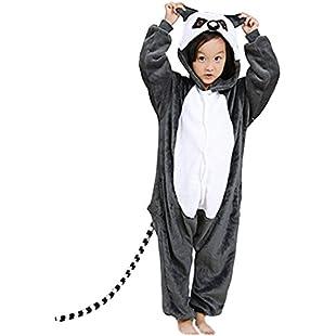 Cute On Unisex Kids Flannel Onesies Animal Pajamas Homewear Lemur Cosplay Costume 130(Suggest Height 126-134CM)