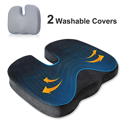 BedStory Office Seat Cushion for Tailbone Back Butt Pain Relief Memory Foam Office Chair Cushion Booster to Lift Hips Up Orthopedic UShape Design with 2 Replacement Covers
