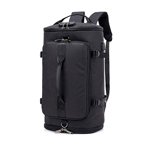 Men Large Travel Anti Theft Password Lock Smart Backpack USB Charge Schoolbag with Luggage Belt Black