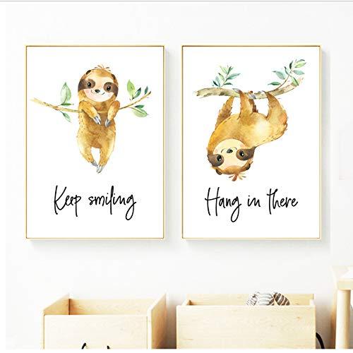 Schattige luier boomschool muurkunst canvas schilderij cartoon dier Nordic poster en afdrukken wandafbeeldingen meisje 40x60x2 stuks cm geen lijst