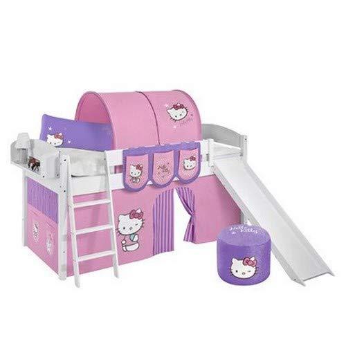 Lilokids Lit surélevé ludique IDA 4105 90x200 cm Hello Kitty Lilas - Lit surélevé évolutif Blanc laqué - avec Toboggan et Rideaux