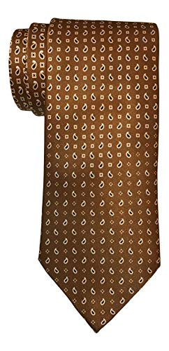Brioni Satin Brown Evolving Paisley Print Tie
