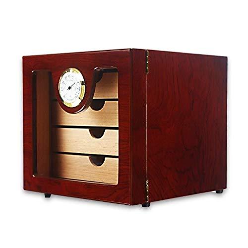 ShiSyan Humidor del cigarro caja de cigarro caso del recorrido de madera del cedro humidor de puros con ble caja de regalo higrómetro portátil 4 capas de gran capacidad espesado sello de los hombres d