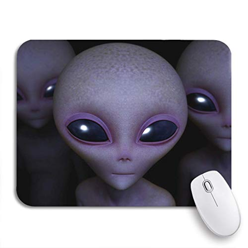 Gaming Mouse Pad Gray Roswell Aliens Green Extraterrestrial Paranormal Character Creature Eye Nonslip Rubber Backing Computer Mousepad for Notebooks Mouse Mats