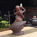 CCDZ Beautiful Ragazza Viola Argilla in Ceramica in Ceramica Titolare di incenso backflow detentori di incenso Decorazione della casa bruciatore di incenso Yoga 2.26