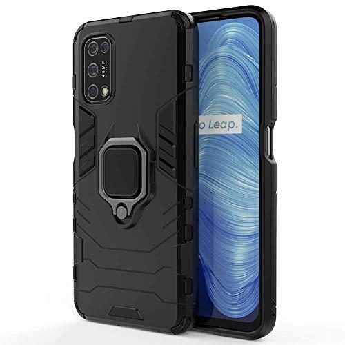 TANYO Hülle für Oppo Realme 7 5G, Schutzhülle TPU/PC Handyhülle mit Ständer, Stoßfest Bumper Armor Hülle Hybrid Cover Schwarz