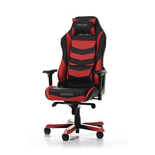 DXRacer Iron Series I166-NR Bürostuhl aus Kunstleder, Schwarz-Rot