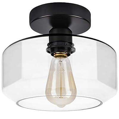 Industrial Semi Flush Mount Ceiling Light, Clear Glass Shade Ceiling Light Fixture, Matte Black Finish, Modern Farmhouse Lighting for Kitchen, Dining Room, Hallway