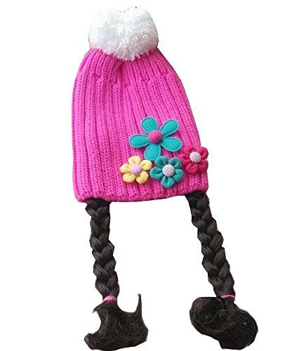 Cute Girl bébé Bonnet enfants Cap avec Tresses Fleurs
