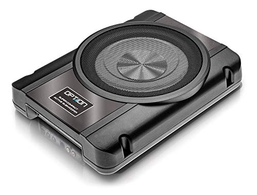 OPTION Drive10UA - 25cm Aktiv-Subwoofer - 120 Watt RMS (2X 60 Watt RMS) - Bass Boost & High Level Eingang mit Auto Sense