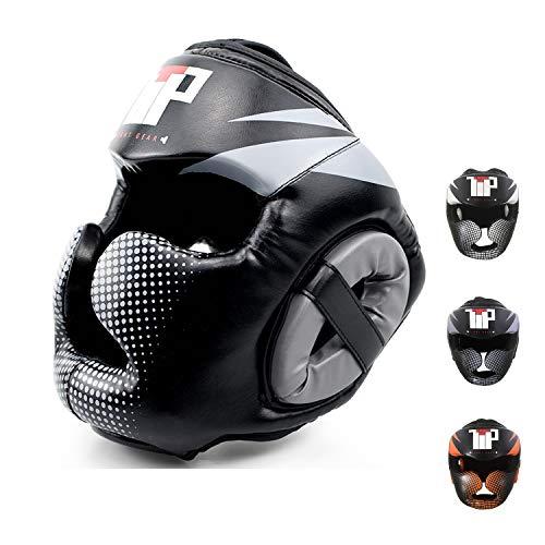 TTP Essential Professional Boxing MMA Kickboxing Head Gear (Gray, L/XL)