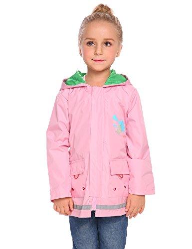 Arshiner Girl Kid Rain Jacket Waterproof Hooded Outwear Raincoat, Pink Purple 120
