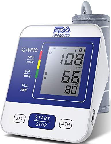 Blood Pressure Monitor Upper Arm FDA Approved with Large LCD Display,Digital Upper Arm Automatic Measure Blood Pressure and Heart Rate Pulse,2 Sets of User Memories (Battery Included) (Blue)