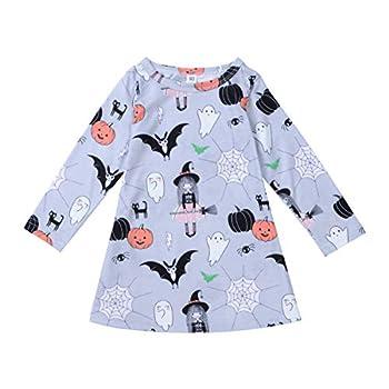 Toddler Baby Girl Halloween Dress Long Sleeve Short Dress Pumpkin Spider Witch Print Fancy Dress Kids Outfit  Grey 3-4 Years