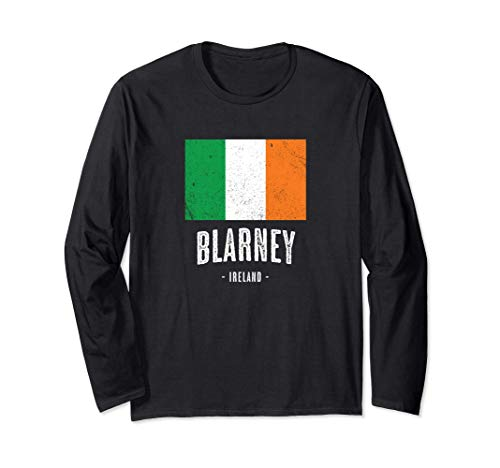 Stadt von BLARNEY - Irland   Irische Flagge Souvenir - Langarmshirt