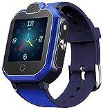 WHXJ 4G GPS Tracker Uhr für Kinder. Smartwatch mit Telefon und Notruf, Deutscher GPS Tracker Shop Blue
