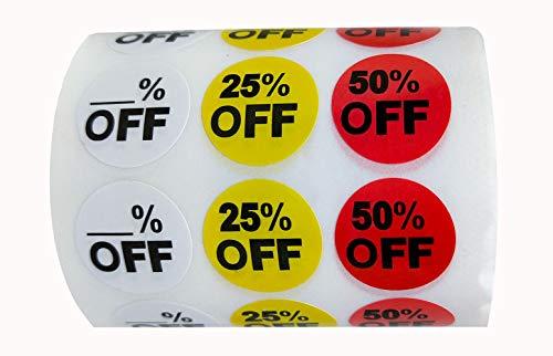 Aufkleber für Preisschilder, 1,008 Stück, blanko, 25% Rabatt, 50% Rabatt, für Einzelhandelsgeschäfte