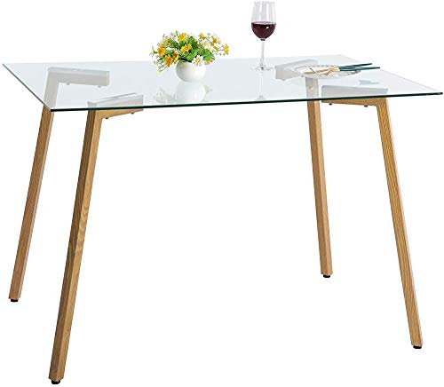 Moderna mesa de cristal rectangular, mesa de la cocina de la oficina comedor, patas de metal de grano de roble,A