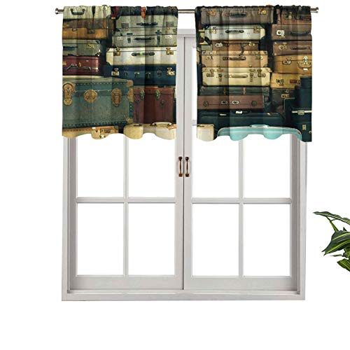 Hiiiman Thermal Insulated Home Decor Rod Pocket Curtain Valance Colorful Vintage Suitcase Antique Leather Decorative Travel Gift, Set of 1, 52'x18' for Basement Window