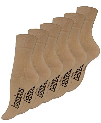 Vincent Creation 6 Paar Damen BAMBUS Socken beigè, Spitze handgekettelt, Ohne Gummibund,