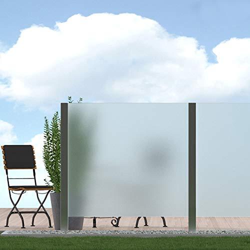 bijon Sichtschutz Glas Terrasse Glas-Zaun Windschutz Terrasse Glas, Balkongeländer Glas für Balkon Garten, Sichtschutzwand Glas, Satiniert PG3 G | 1190x1835mm