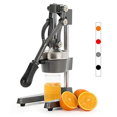 CO-Z Commercial Grade Citrus Juicer Professional Hand Press Manual Fruit Juicer Orange Juice Squeezer for Lemon Lime Pomegranate (Gray Cast Iron/Stainless Steel)