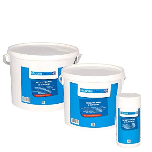 POOLSBEST® 1,2 kg Multitabs 2 Speed 7 in 1 - Chlortabletten für Pool mit 2 Phasen-Desinfektion (schnell- und langsamlöslich)