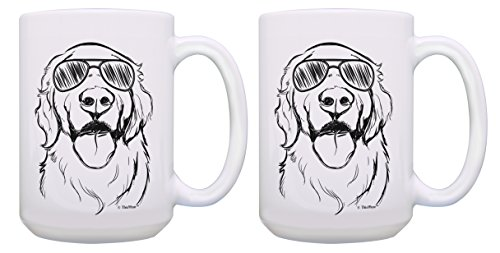 Dog Mugs Golden Retriever Wearing Sunglasses Dog Gift Set 2 Pack Gift 15-oz Coffee Mugs Tea Cups White