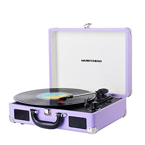 MUSITREND Tocadiscos de Vinilo con Bluetooth, Tocadiscos Vintage de 3 Velocidades con Altavoces Incorporados, para Discos de Vinilo de 7/10/12 Pulgadas, AUX/RCA, Morado