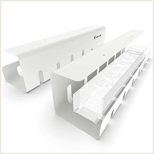 UNITURE® - [2er Set] Kabelkanal Schreibtisch für ordentliches Kabelmanagement - Kabelhalter Schreibtisch mit einfacher Montage und zeitlosem Design - 2x 43cm - Kabelführung für Home-Office (weiß)