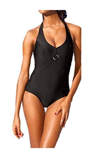 CLASS INTERNATIONAL Damen-Badeanzug Neckholder-Badeanzug Mieder-Badeanzug schwarz (36, schwarz)