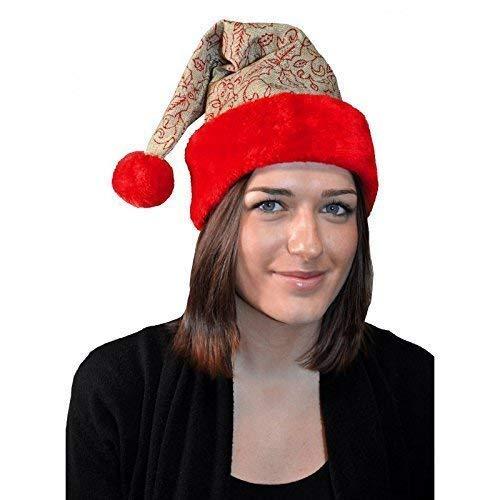 Lively Moments Décoratif Chapeau de Père Noël en Juteoptik avec Rouge Thèmes de Noël / Père Noël Accessoires de Déguisements Bonnet