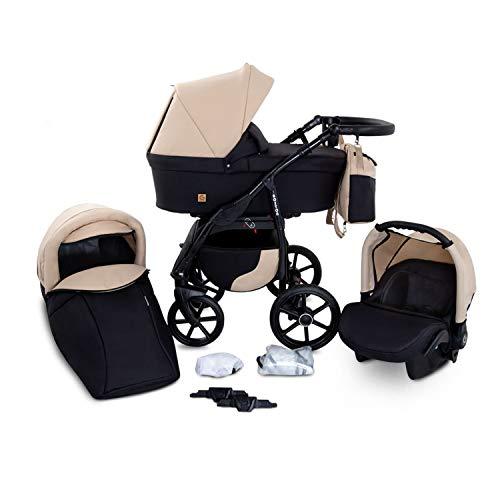 Buggie Boston NEVADA | 3-in-1-System | Kinderwagen, Kombikinderwagen, Babyschale, Autositz System | Zwei-Wege-Griff | Travel System | Moderner, Leichter Trolley mit Allem Zubehör Inklusive