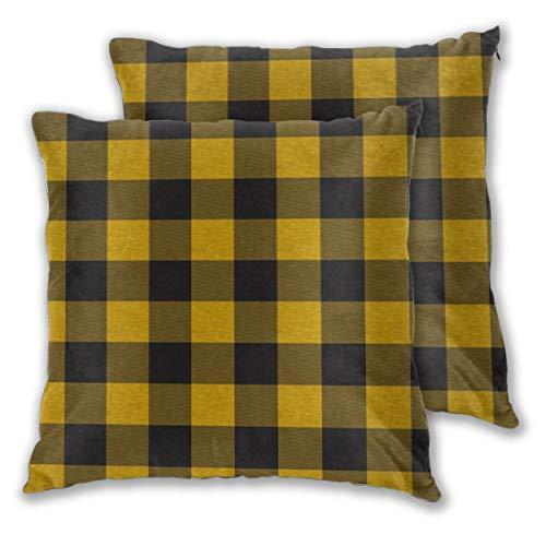 Art Fan-Design Juego de 2 Fundas de cojín cuadradas para sofá, Silla, sofá, sillón, Dormitorio, diseño de búfalo, Color Negro