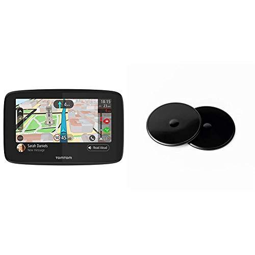 TomTom GO 520 - Navegador 5 Pulgadas, Llamadas Manos Libres, Siri y Google Now, actualizaciones Via Wi-Fi + Discos Adhesivos, para el salpicadero para Todos los navegadores TomTom, como Start