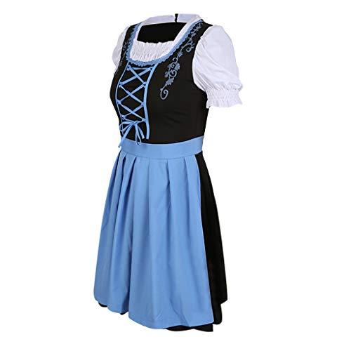 Allegorly Damen Kostüm Kleid,Halloween Farm Maid Kostüm Koch Bauernhof Bühne Kostüm Kleid - Oktoberfest Damen Dirndl Set Bier Festival Kleid