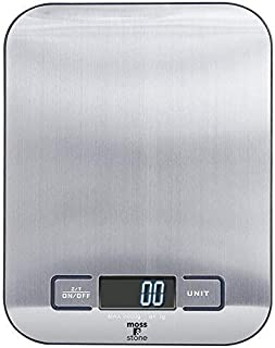 Digital Kitchen Scale Food Multifunction Accuracy Scale LCD display 11LB 5KG Digital Weight Touch (Stainless Steel) By Moss And Stone