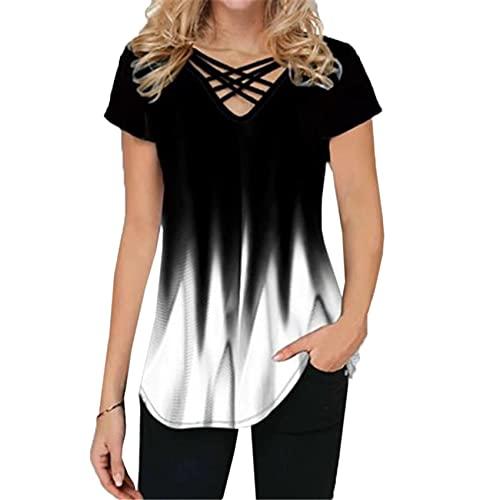 Camiseta de Manga Corta con Cuello en v Casual impresión de la Pendiente de Las Mujeres