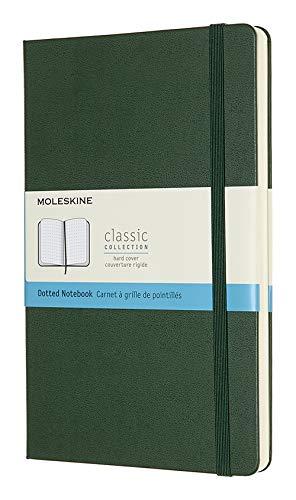 Moleskine Classic Notebook, Taccuino con Pagine Puntinate, Copertina Rigida e Chiusura ad Elastico, Formato Large 13 x 21 cm, Colore Verde Mirto, 240 Pagine