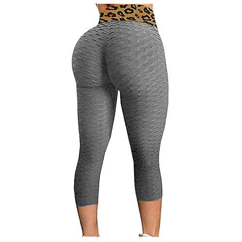 MILONT Leggings a Nido d'Ape da Donna con Increspature Che sollevano Il Culo, Pantaloni Yoga a Vita Alta, Controllo della Panci