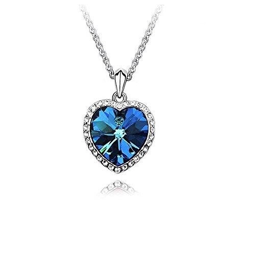 Herz des Ozeans Crystals from Swarovski Blau Halskette Anhänger 18 kt Vergoldet für Damen 45 cm