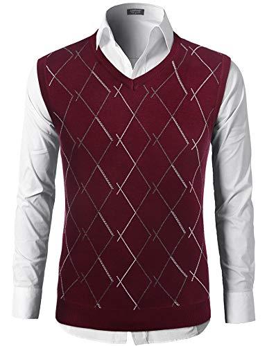 COOFANDY Men's Golf Argyle V-Neck Sweater Vest Sleeveless Pullover Sweaters