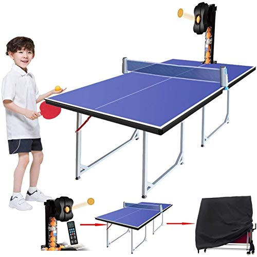 N/Z Daily Equipment 2020 Indoor Ping Pong Robot with Table Tennis Table for Kids 36 Spins Tennis Training Practice Sets(Table Tennis Table+Ping Pong Ball Launcher +Table Cover)