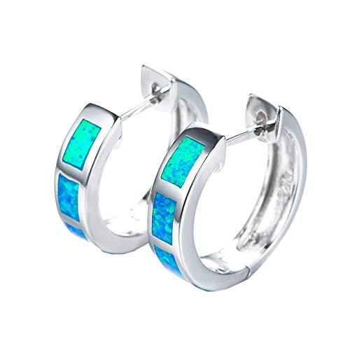 Purmy Damen Creolen 925 Silber Opal Ohrringe,Damen Runde Blauer Ohrringe für Sie