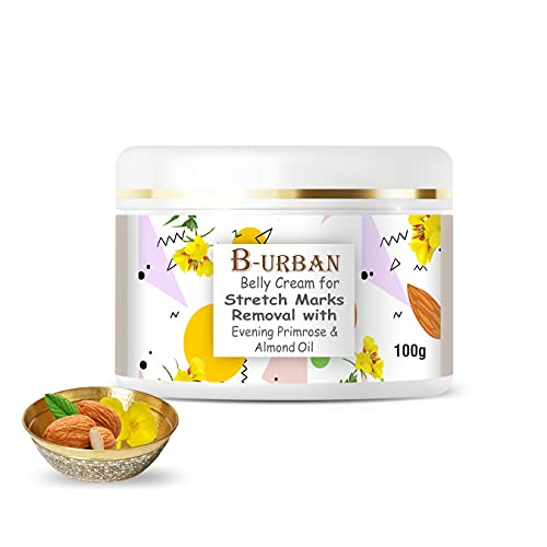 B-URBAN Belly Stretch Mark Removal Cream With Eveneing Primrose, Rose Hip And Almond Oil. Made With Natural And Organic Ingredients- 100gm