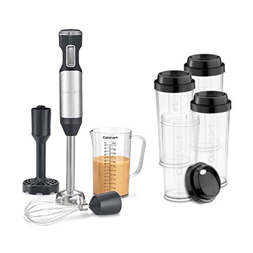 Cuisinart CSB-750H Hurricane Series Hand Blender (One Size, Stainless Steel) Bundle with Four Travel Cups (2 Items)