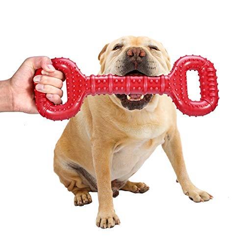 Feeko Juguetes para perros masticables agresivos de raza grande de 15 pulgadas, hueso interactivo indestructible de caucho natural con diseño convexo para perros medianos / grandes (rojo)